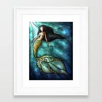 mandie manzano Framed Art Prints featuring The Mermaid by Mandie Manzano