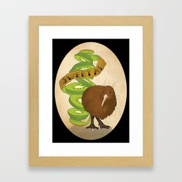 Kiwiana banner Series - Kiwi Framed Art Print