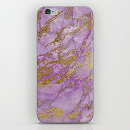 Gold Glitter and Ultra Violet Marble Agate iPhone Skin