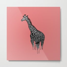 Newspaper Giraffe Metal Print