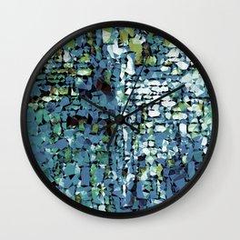 Blue Green Abstract Geometric Low Poly Modern Art Wall Clock