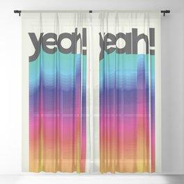 YEAH! neon rainbow typography Sheer Curtain