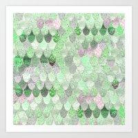 SUMMER MERMAID - GREEN & PINK Art Print