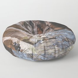 Cairn in the Zion Narrows Floor Pillow