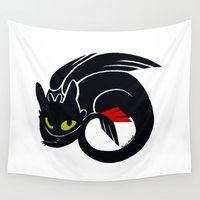 toothless Wall Tapestries featuring Toothless by Annie Pollock