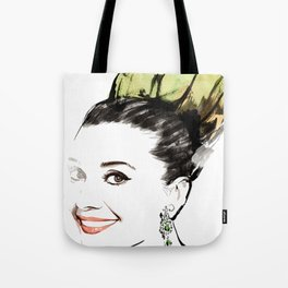 Classical Beauty, Fashion Painting, Fashion IIlustration, Vogue Portrait, Black and White, #13 Tote Bag