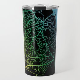 Bray, Ireland, City, Map, Rainbow, Map, Art, Print Travel Mug