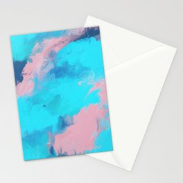 Modern abstract teal pink paint brushstrokes Stationery Cards