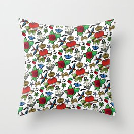 Vintage Tattoos Throw Pillow