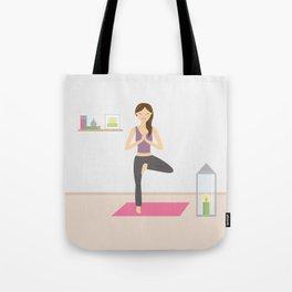 Yoga Girl In Tree Pose Cartoon Illustration Tote Bag