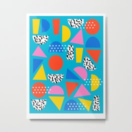 Airhead - memphis retro throwback minimal geometric colorful pattern 80s style 1980's Metal Print