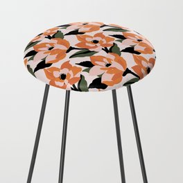 Bold orange poppy on a soft pink base Counter Stool