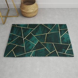 Dark Teal Ink Gold Geometric Glam #1 #geo #decor #art #society6 Rug