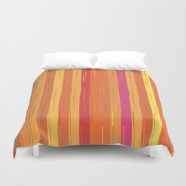 Orange and Yellow Stripes and Lines Abstract Duvet Cover