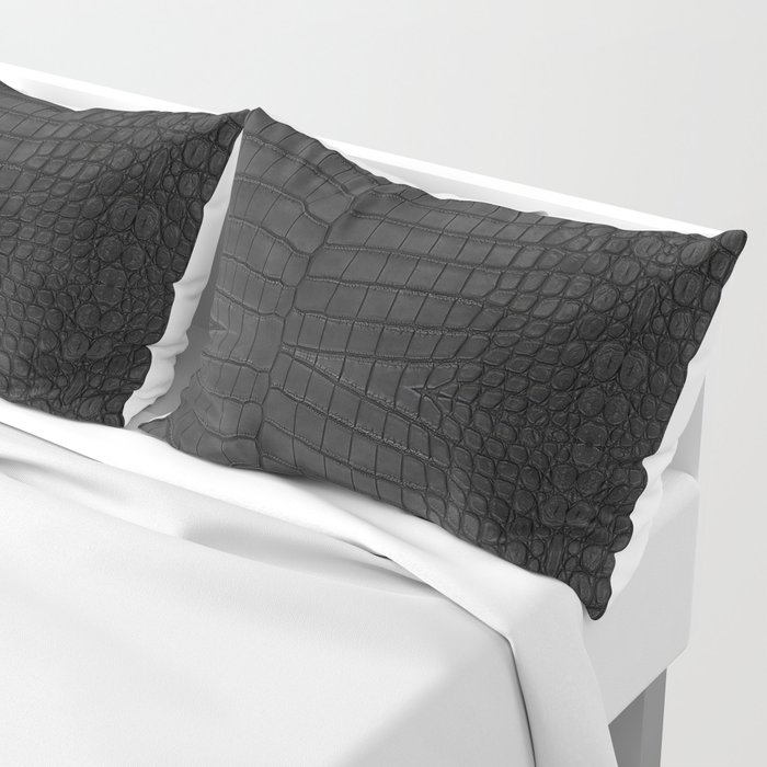 Black Crocodile Leather Print Kissenbezug