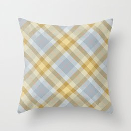 Yellow Gray Plaid Rug Throw Pillow