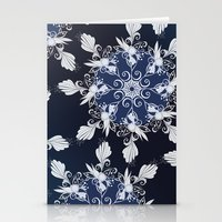 damask Stationery Cards featuring Damask blue by /CAM
