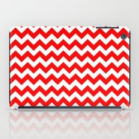 chevron iPad Cases featuring Chevron (Red/White) by 10813 Apparel