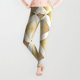 Golden Colored Geometric Diamond Art Deco Pattern Leggings