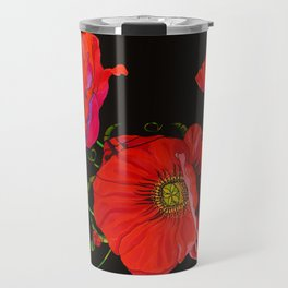 Red Poppies on Silk Travel Mug