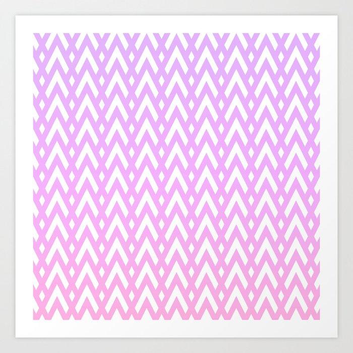 Chevrons & Diamonds, Lilac and Pink Art Print