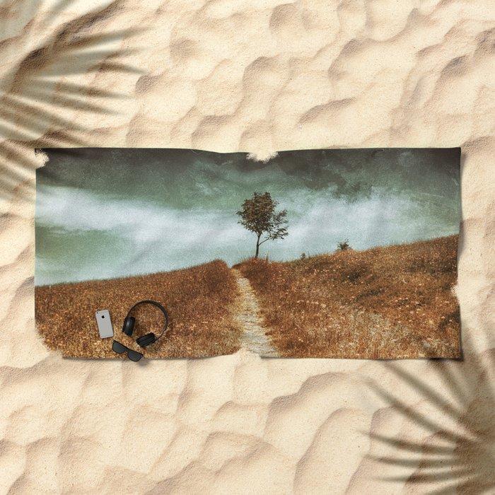 Tree On The Way Beach Towel