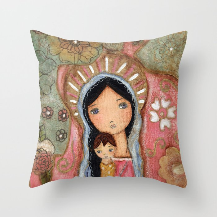 Madonna of the Flowers by Flor Larios Throw Pillow