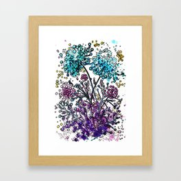 Purple floral watercolor abstraction Framed Art Print