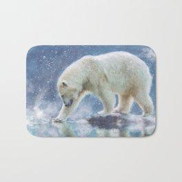 A polar bear at the water Bath Mat