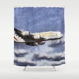 Emirates A380 Airbus Art Shower Curtain