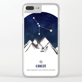 Astrology Cancer Zodiac Horoscope Constellation Star Sign Watercolor Poster Wall Art Clear iPhone Case