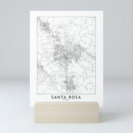 Santa Rosa White Map Mini Art Print