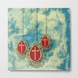 Beautiful Gold Crosses on a pale blue and yellow texture Metal Print