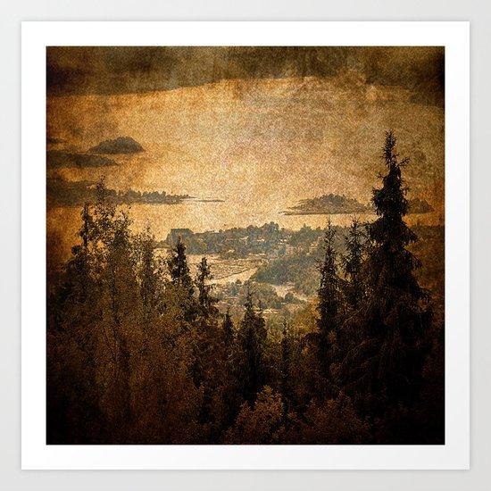 vintage forest landscape Art Print