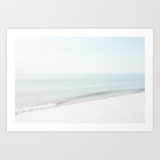 Soft Mint and Beige Abstract Seascape No 1 Art Print