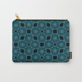 Turquoise and Black Flower Doodle with Digital Glitter Effect -Graphic Design Pattern Carry-All Pouch