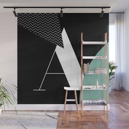 Serif - A - black Wall Mural