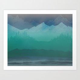 Ombre Mountainscape (Blue, Aqua) Art Print