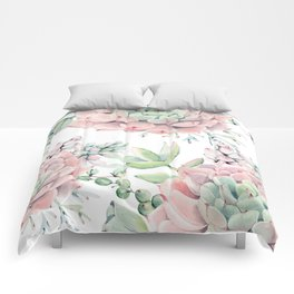 Pink Succulents by Nature Magick Comforters