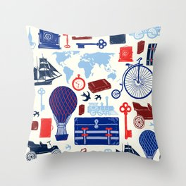 All Aboard to Explore Our Marvelous World - Vintage Travel from the Victorian Era Throw Pillow