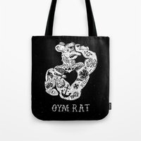 rat Tote Bags featuring Gym Rat by Textures