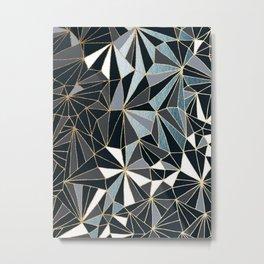 Stylish Art Deco Geometric Pattern - Black, blue, Gold #abstract #pattern Metal Print