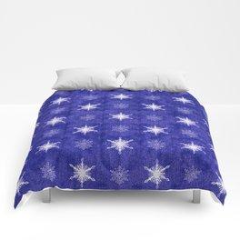 Royal Purple and White Christmas Snowflakes Comforters