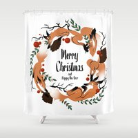 merry christmas Shower Curtains featuring Merry Christmas by Anya Volk