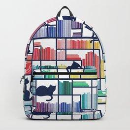 Rainbow bookshelf // white background navy blue shelf and library cats Backpack