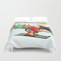 sports Duvet Covers featuring Winter Sports: Biathlon by Alapapaju