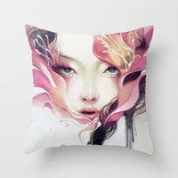 flower Throw Pillows featuring Bauhinia by Anna Dittmann