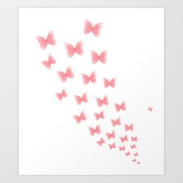 Watermelon butterflies Art Print