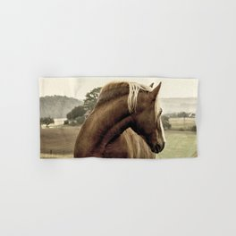brown horse on the hill Hand & Bath Towel