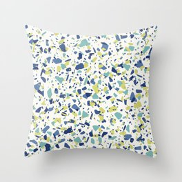 Terrazo in Blue, green and citron Throw Pillow